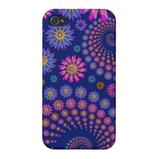 Pink Purple Blue Floral Pattern on Blue iPhone 4/4S Covers