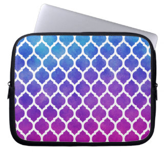 Pink Purple Blue Ombre Moroccan Lattice Laptop Sleeve