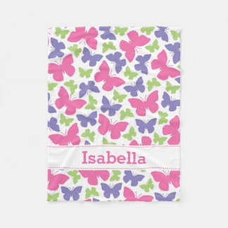 Pink Purple Butterflies Personalized Girl's Fleece Blanket