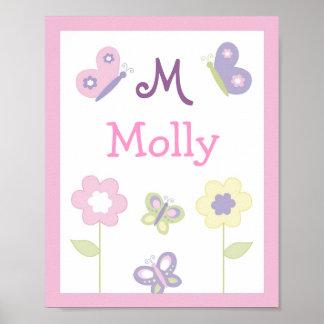 Pink Purple Butterfly Nursery Wall Art Name Print