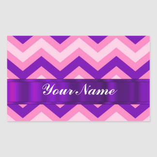 Pink & purple chevron rectangular sticker