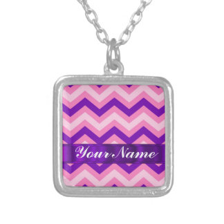 Pink & purple chevron silver plated necklace