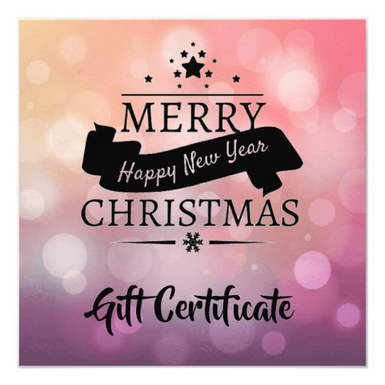 Pink Purple Christmas New Year Gift Certificate Card