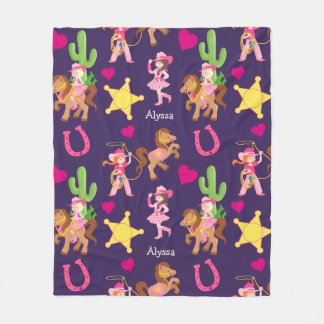 Pink Purple Cowgirl Pattern Kids Fleece Blanket