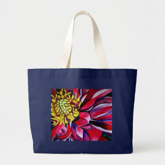 Pink purple Dahlia flower watercolor abstract art Large Tote Bag