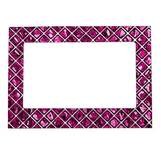 Pink Purple Diamond Pattern Magnetic Picture Frame