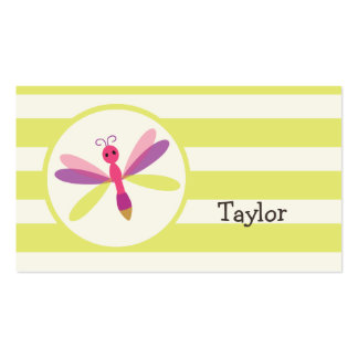 Pink & Purple Dragonfly on Lime Green Stripes Pack Of Standard Business Cards