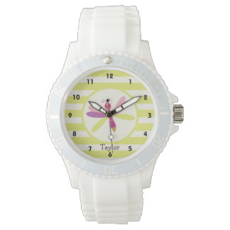 Pink & Purple Dragonfly on Lime Green Stripes Wristwatch