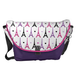 Pink & Purple Eiffel Tower pattern Commuter Bags