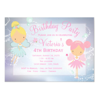 Pink Purple Fairy Princess Girl Birthday Party 11 Cm X 16 Cm Invitation Card