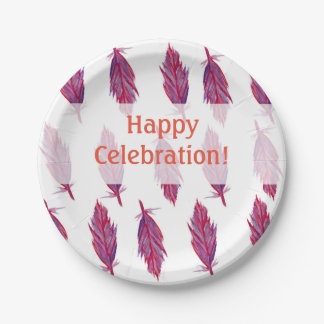 Pink Purple Feathers Happy Custom Paper Plates 7 Inch Paper Plate