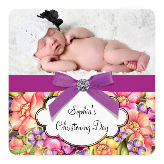 Pink Purple Floral Baby Girl Photo Christening Card