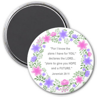 Pink & Purple Floral Jeremiah 29:11 Round Magnet