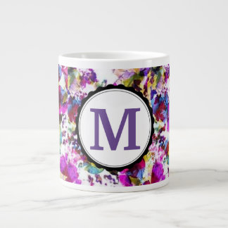 Pink & Purple Floral Monogrammed Giant Coffee Mug