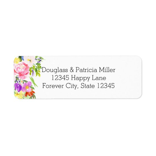 Pink Purple Floral Watercolor Gold Sparkle Return Address Label