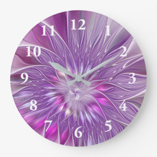 Pink Purple Flower Passion Abstract Fractal Art Large Clock