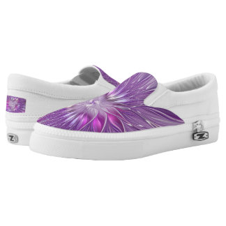 Pink Purple Flower Passion Abstract Fractal Art Printed Shoes
