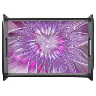 Pink Purple Flower Passion Abstract Fractal Art Serving Tray
