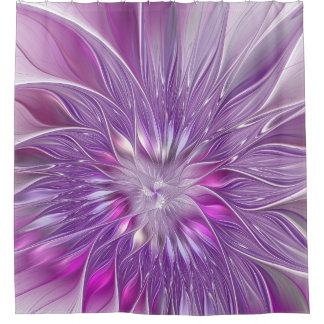 Pink Purple Flower Passion Abstract Fractal Art Shower Curtain