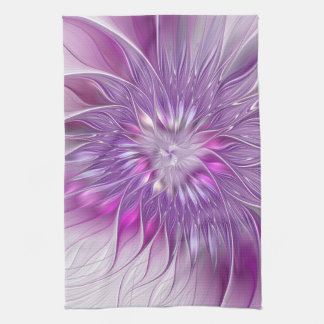 Pink Purple Flower Passion Abstract Fractal Art Tea Towel