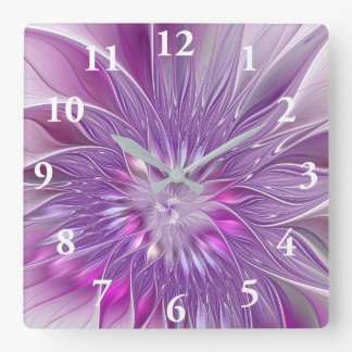 Pink Purple Flower Passion Abstract Fractal Art Wallclock