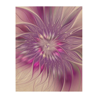 Pink Purple Flower Passion Abstract Fractal Art Wood Canvas