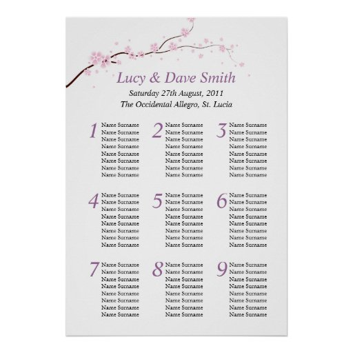 Pink & Purple Flower Wedding Table Seating Plan Posters