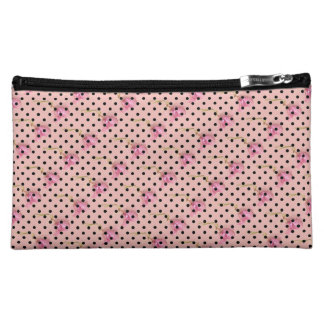 Pink purple flowers and black polka dots cosmetic bags