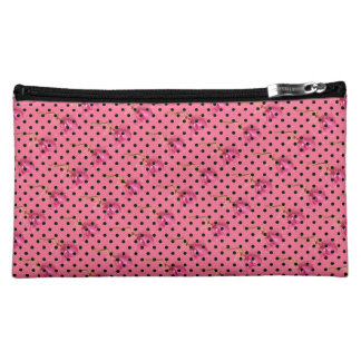 Pink purple flowers and black polka dots makeup bags