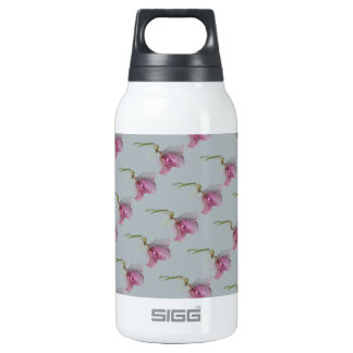 Pink purple flowers on blue grey white insulated water bottle