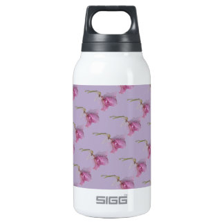 Pink purple flowers on purple insulated water bottle