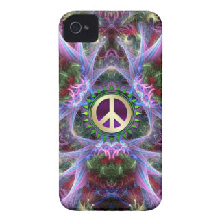 Pink Purple Fractals Peace Sign iPhone 4 Case