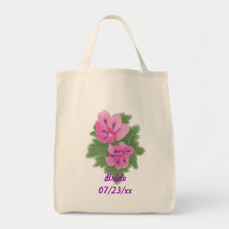 Pink Purple Geranium Bride Wedding Tote Bags