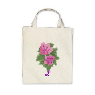 Pink Purple Geranium Monogram Wedding Tote Bags