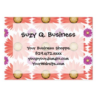 Pink Purple Gerber Daisy Flowers Floral Pattern Business Card Template