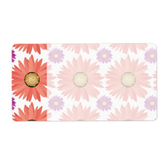 Pink Purple Gerber Daisy Flowers Floral Pattern Shipping Label