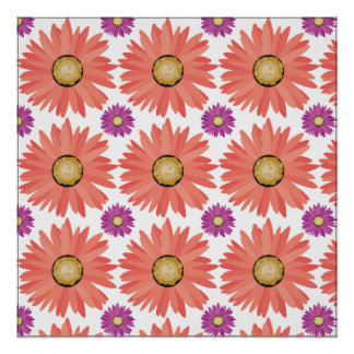 Pink Purple Gerber Daisy Flowers Floral Pattern Poster
