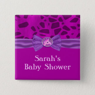 Pink & Purple Giraffe Baby Shower 15 Cm Square Badge