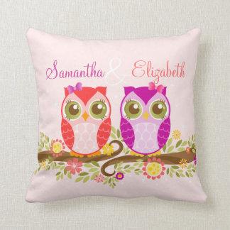 Pink & Purple Girl Owls - Custom Throw Pillow
