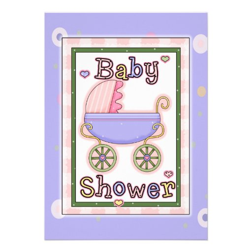 Pink Purple Girl's Baby Carriage Shower Invites