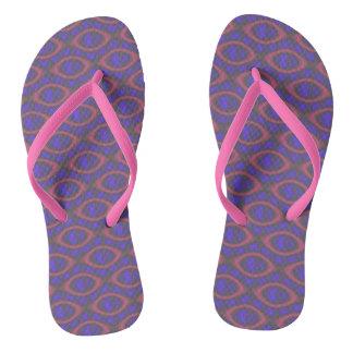 Pink Purple Girly Abstract Retro Geometric Pattern Flip Flops