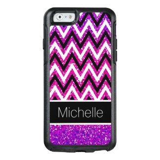 Pink Purple Glitter Black and White Chevrons OtterBox iPhone 6/6s Case