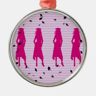 Pink & Purple Grad Silhouettes Christmas Ornament