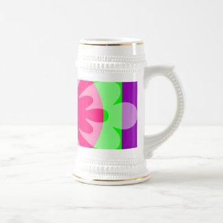 pink purple green flower mug