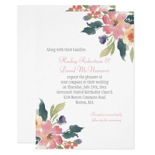 Pink Purple Green Watercolor Wildflowers Wedding Card