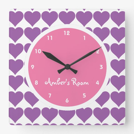Pink & Purple Heart Print Girl's Bedroom Square