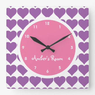 Pink & Purple Heart Print Girl's Bedroom Wall Clock