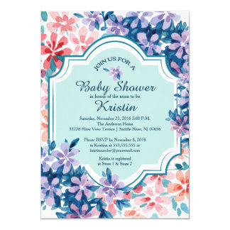 Pink & Purple Hydrangea Flowers Baby Shower 13 Cm X 18 Cm Invitation Card
