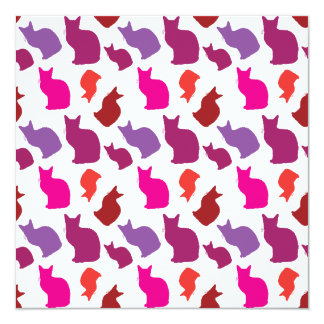 Pink Purple Kitty Cat Silhouettes Pattern Gifts 13 Cm X 13 Cm Square Invitation Card