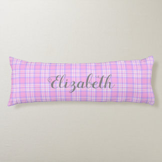 Pink Purple Lavender Plaid Gingham Check Girl Body Cushion